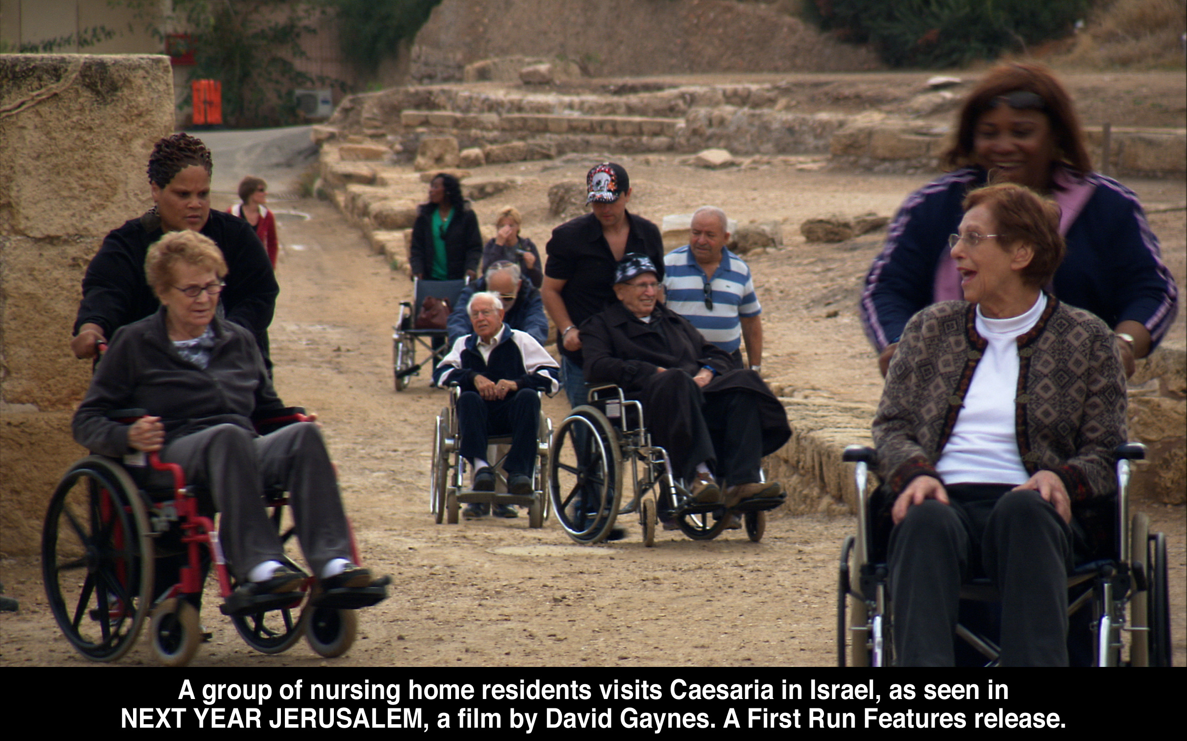 A group of nursing home residents visit Caesaria in Israel, as seen in Next Year   Jerusalem, a film by David Gaynes.