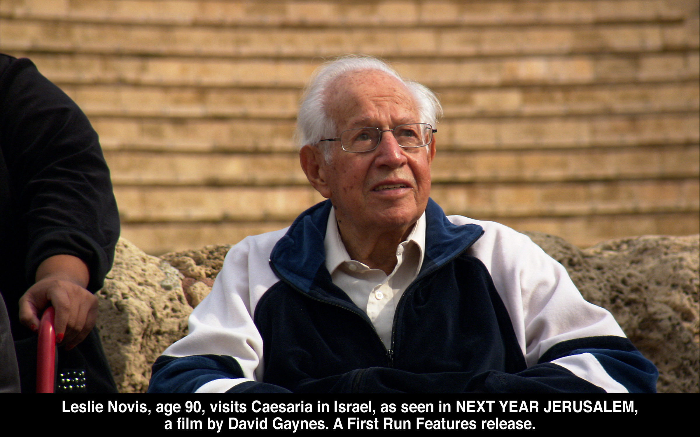 Leslie Novis (90) visits Caesaria in Israel, as seen in Next Year Jerusalem, a film by   David Gaynes.