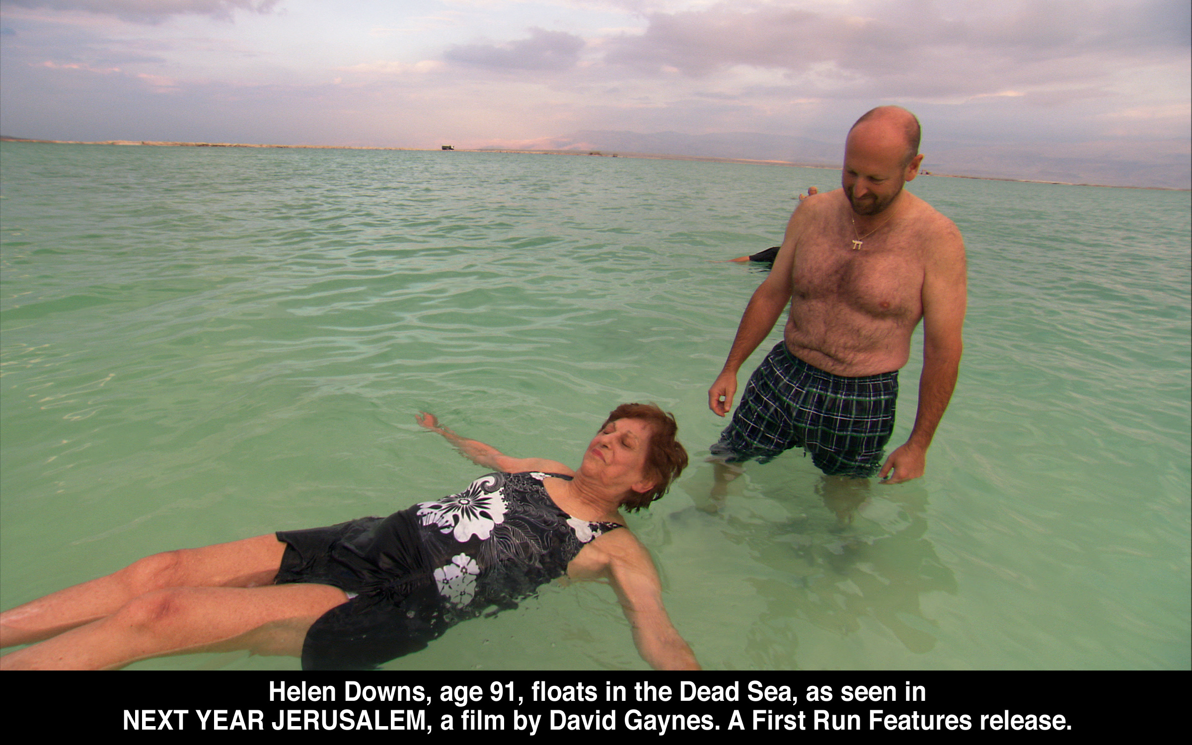 Helen Downs (91) floats in the Dead Sea, as seen in Next Year Jerusalem, a film by   David Gaynes.