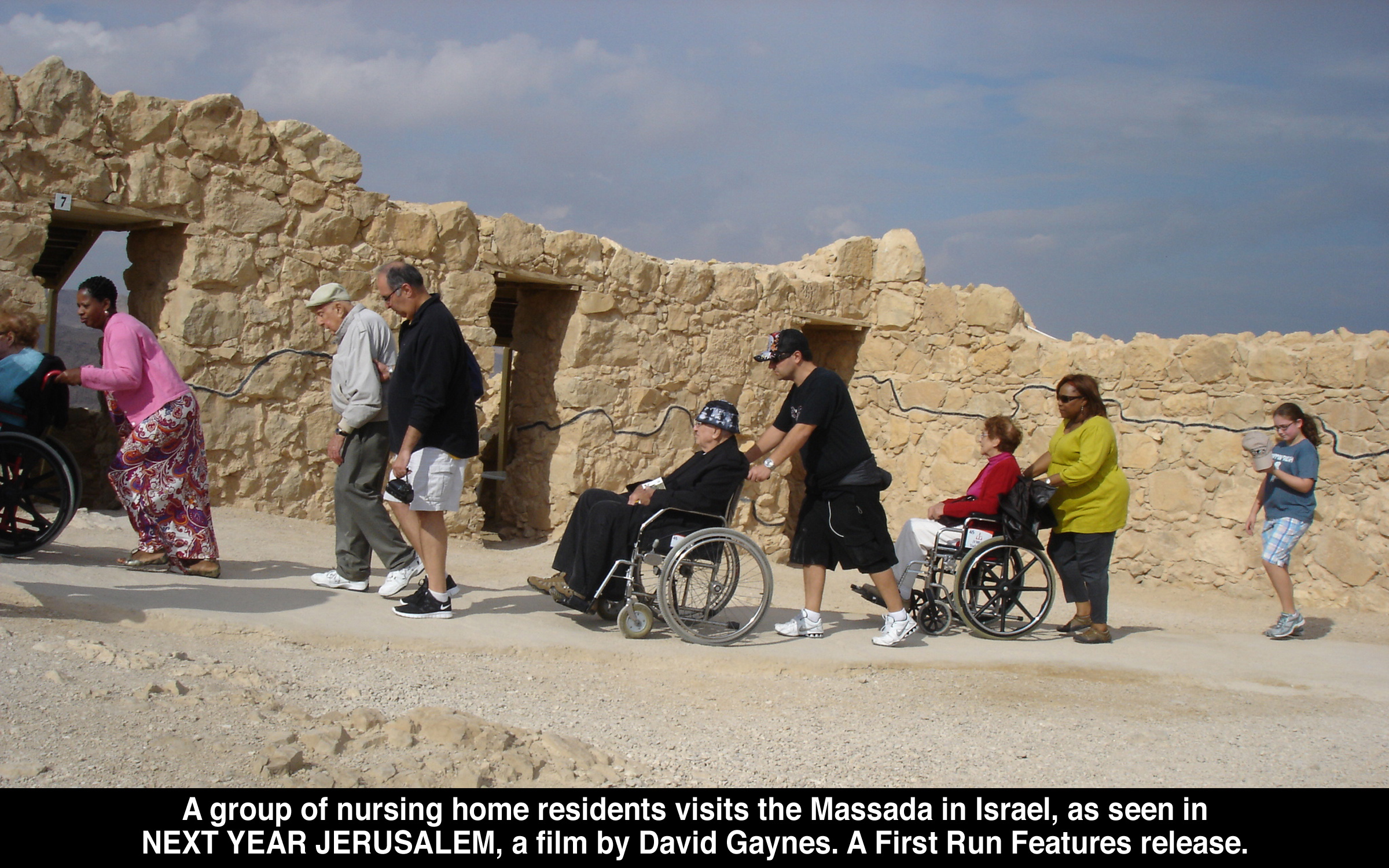 A group of nursing home residents visit the Massada in Israel, as seen in Next Year   Jerusalem, a film by David Gaynes.